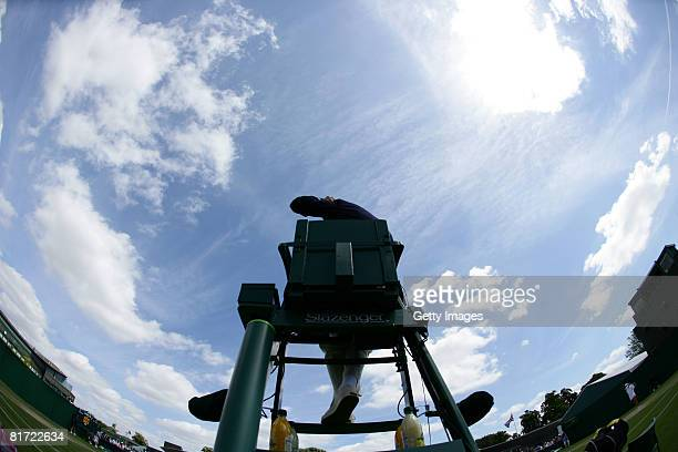 Evian bottles on the umpire's chair on day four of the Wimbledon Lawn Tennis Championships at the All England Lawn Tennis and Croquet Club on June 26...