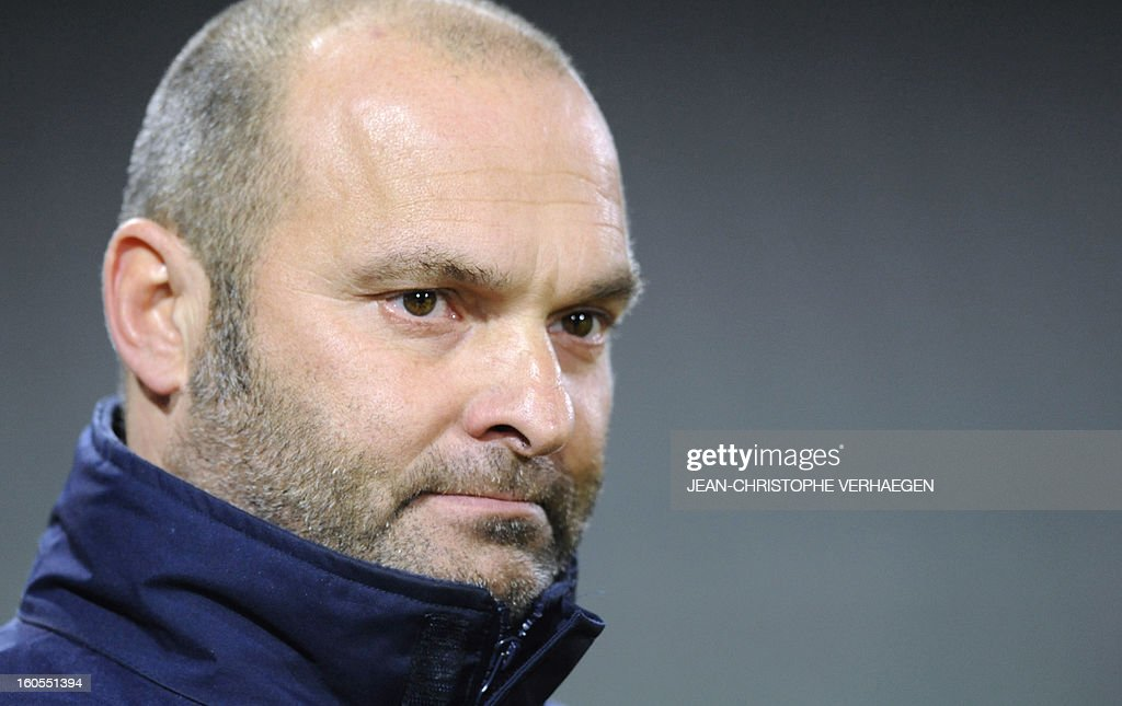 Evian's French coach Jean-Yves Chay reacts before the French L1 football match Bastia (SCB) vs Evian (ETGFC) at the Abbe Deschamps Stadium, on February 2, 2013 in Auxerre.