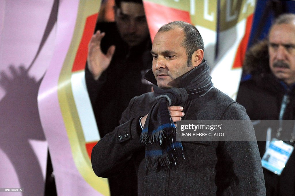 Evian's French coach Pascal Dupraz looks at players during the French L1 football match Evian (ETGFC) vs Ajaccio (ACA) on January 26, 2013 at the city stadium Parc des sports in Annecy, eastern France.