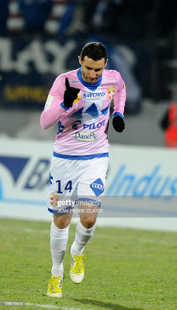 Evian's French midfielder Cedric Barbosa reacts after scoring during the French L1 football match Evian (ETGFC) vs Troyes (ESTAC) on December 12, 2012 at the Parc des Sports stadium in Annecy, eastern France.