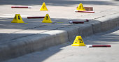 Evidence markers near the shooting site in Dallas on Friday July 8 2016 On Thursday 12 police officers where shot five fatally before a gunman was...