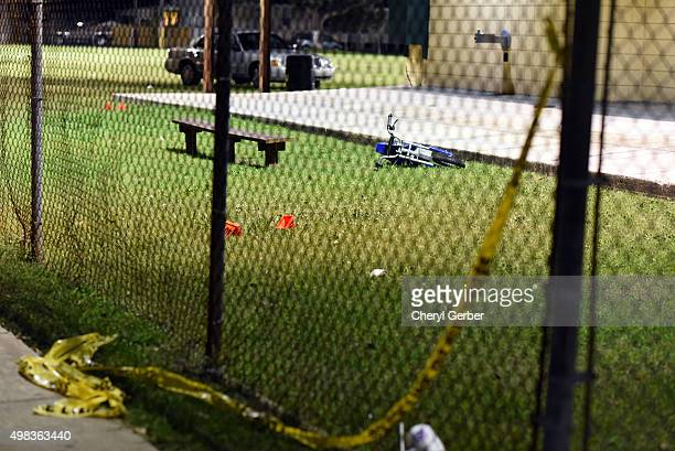Evidence markers sit on the ground after a shooting at a playground on November 22 2015 in New Orleans Louisiana According to reports as many as 16...