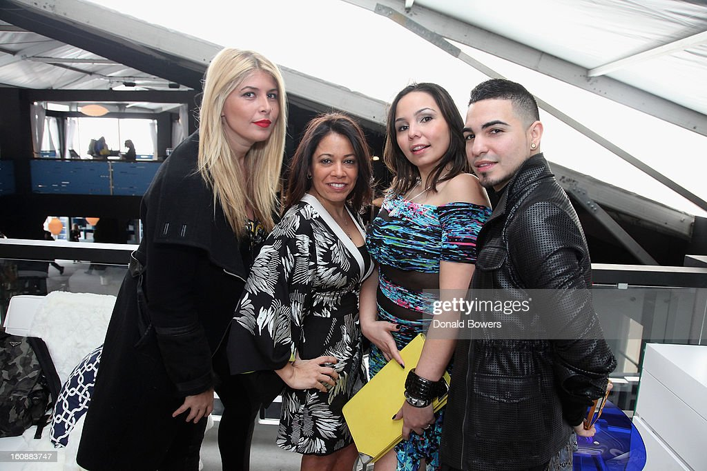 Evie Fernandez, Jenny Saul, and Albie Collado attend the VIP reception ForBCBGMAXAZRIA hosted by Samsung Galaxy Lounge during Mercedes-Benz Fashion Week Fall 2013 Collections at Lincoln Center on February 7, 2013 in New York City.