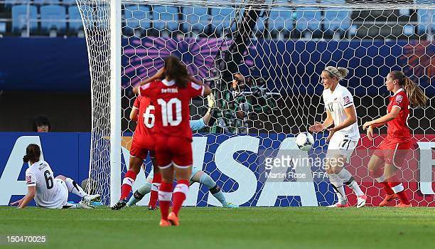 Evie Millynn of New Zealand scores her team's opening goal during the FIFA U20 Women's World Cup 2012 group A match between New Zealand and...
