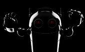 Evil angry robot . Render on blackbackground