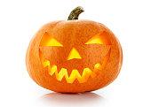 Evil Halloween pumpkin head isolated on white background