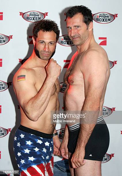 Evil Jared and Lars Riedel pose during the Celebrity Boxing Press Conference at 'Ufer 8' on March 29 2012 in Duesseldorf Germany