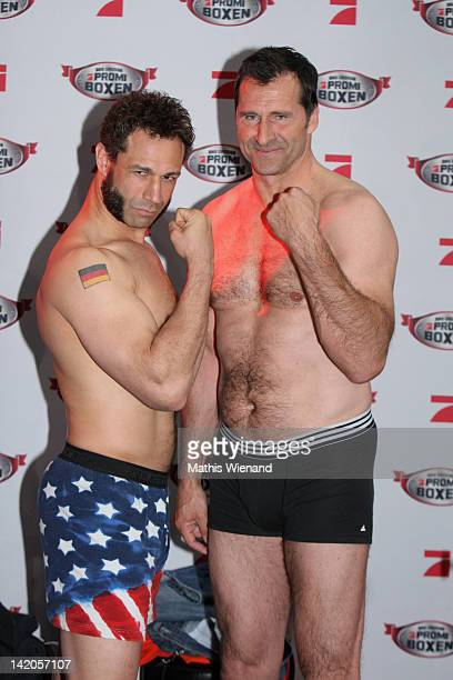 Evil Jared Hasselhoff and Lars Riedel pose for the media during the Celebrity Boxing Press Conference at 'Ufer 8' on March 29 2012 in Duesseldorf...