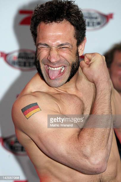 Evil Jared Hasselhoff poses for the media during the Celebrity Boxing Press Conference at 'Ufer 8' on March 29 2012 in Duesseldorf Germany