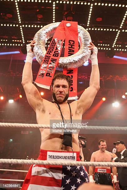 Evil Jared Hasselhoff wins the 'Das Grosse ProSieben Promiboxen' champion at Castello on March 31 2012 in Duesseldorf Germany