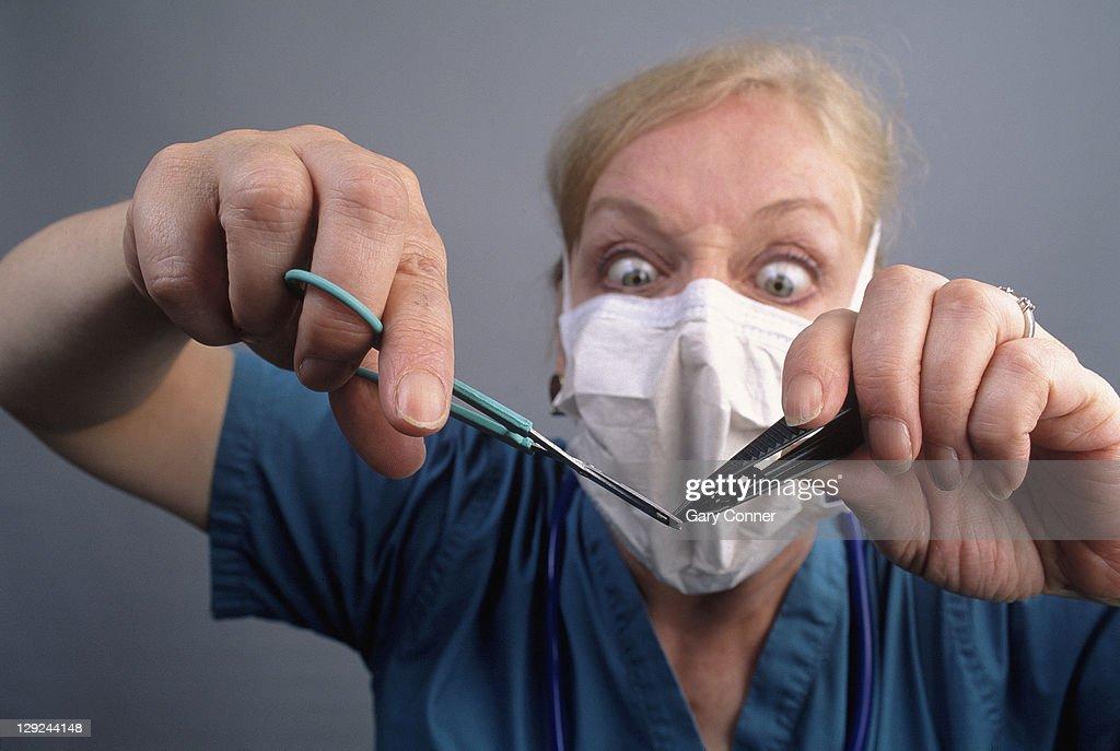 'Evil' nurse : Stock Photo