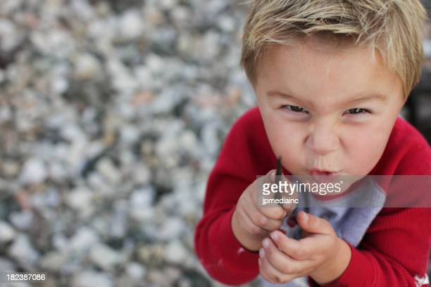 Evil threatening child