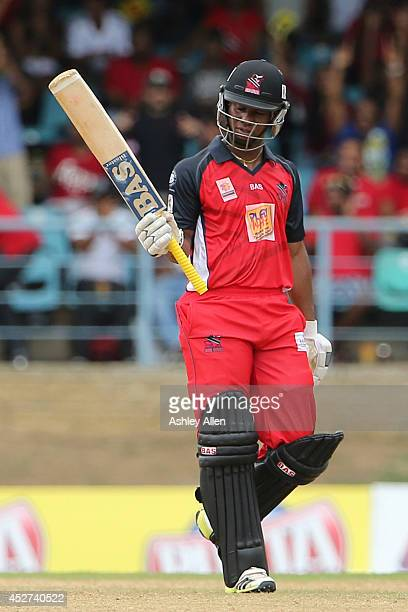 Evin Lewis brings up 50 during a match between The Trinidad and Tobago Red Steel and Jamaica Tallawahs as part of the week 3 of Caribbean Premier...