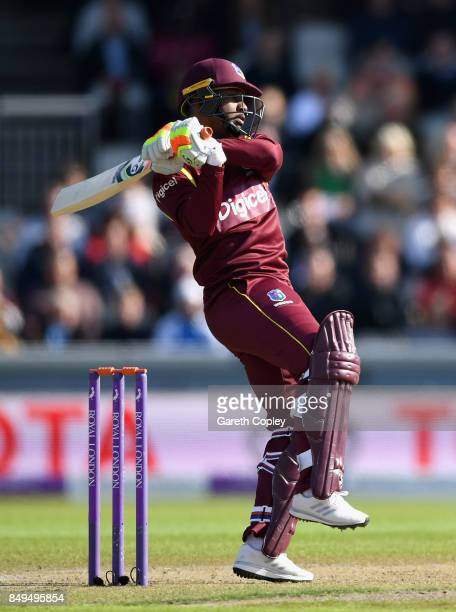 Evin Lewis of the West Indies bats during the 1st Royal London One Day International match between England and the West Indies at Old Trafford on...