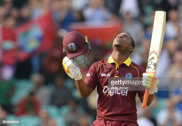 Evin Lewis of the West Indies celebrates reaching his century during the 4th Royal London oneday international cricket match between England and the...