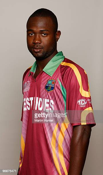 Evin Lewis of the West Indies poses for a portrait ahead of the ICC U19 Cricket World Cup at Crowne Plaza on January 10 2010 in Christchurch New...
