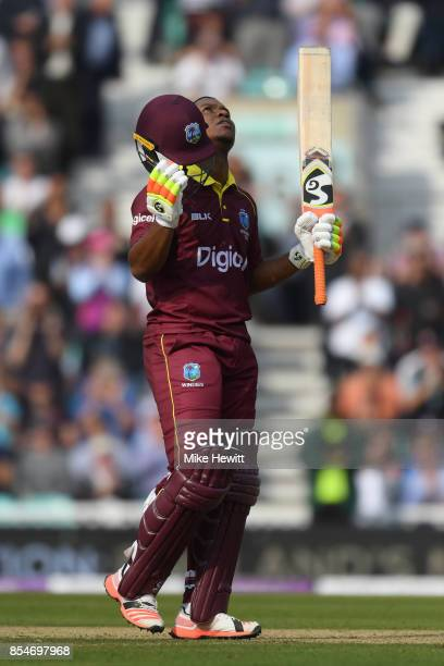 Evin Lewis of West Indies celebrates reaching his century during the 4th Royal London One Day International between England and West Indies at The...
