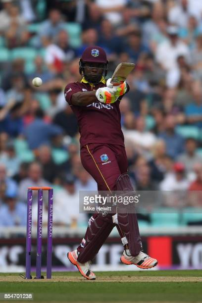 Evin Lewis of West Indies hits out during the 4th Royal London One Day International between England and West Indies at The Kia Oval on September 27...