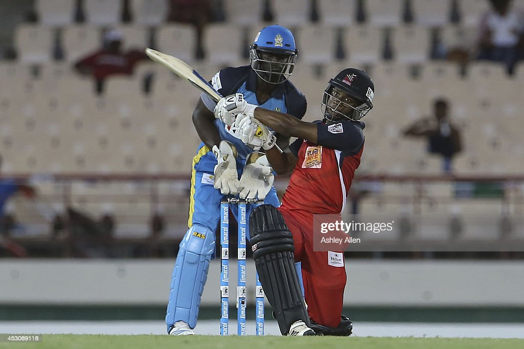 Evin Lewis sweeps for six during a match between St. Lucia Zouks and The Trinidad and Tobago Red Steel as part of week 4 of the Limacol Caribbean Premier League 2014 at Beausejour Stadium on August 02, 2014 in Castries, St. Lucia.
