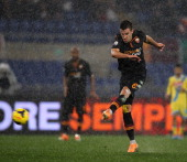 K evin Strootman of AS Roma scores the second team's goal during the TIM Cup match between AS Roma and SSC Napoli at Olimpico Stadium on February 5...
