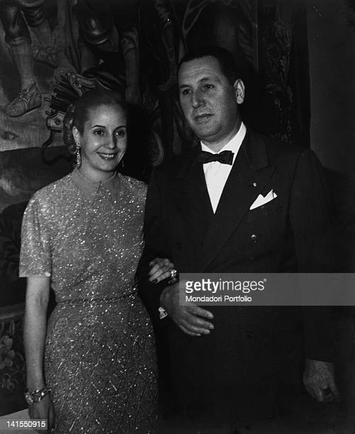 Evita smiling arm in arm with husband Juan Peron the President of the Argentinian Republic Argentina 1951