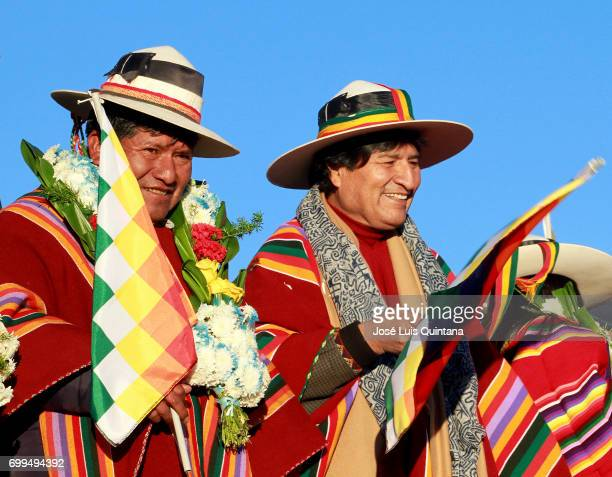 Evo Morales President of Bolivia and Víctor Hugo Vásquez Gobernor of Oruro receive the first sunbeams of the AndeanAmazonic New Year 5525 on June 21...