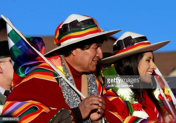 Evo Morales President of Bolivia and Wilma Alanoca Minister of Culture receive the first sunbeams of the AndeanAmazonic New Year 5525 on June 21 2017...