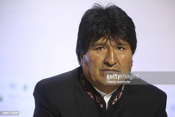 Evo Morales president of Bolivia speaks during a press conference at the 21st session of the conference COP21 on climate change on November 30 2015...