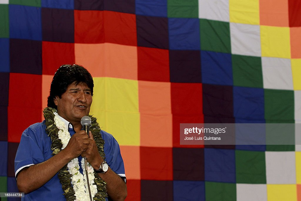 <a gi-track='captionPersonalityLinkClicked' href=/galleries/search?phrase=Evo+Morales&family=editorial&specificpeople=272981 ng-click='$event.stopPropagation()'>Evo Morales</a>, President of Bolivia talks during the inauguration of the national assembly of the Movement Toward Socialism (MAS) in which they were proposed, along with Vice President Alvaro Garcia Linera, as official binomial for the general elections scheduled for October 2014 at Coliseo de la Coronilla on October 05, 2013 in Cochabamba, Bolivia.