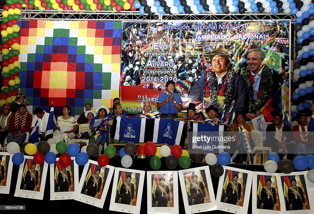 <a gi-track='captionPersonalityLinkClicked' href=/galleries/search?phrase=Evo+Morales&family=editorial&specificpeople=272981 ng-click='$event.stopPropagation()'>Evo Morales</a> (C), President of Bolivia talks during the inauguration of the national assembly of the Movement Toward Socialism (MAS) in which they were proposed, along with Vice President Alvaro Garcia Linera, as official binomial for the general elections scheduled for October 2014 at Coliseo de la Coronilla on October 05, 2013 in Cochabamba, Bolivia.