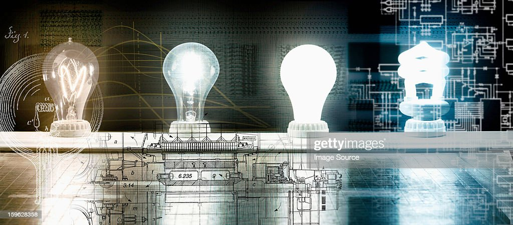 Evolution of the light bulb - from Thomas Edison to energy saving bulb : Stock Photo