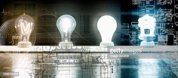 Evolution of the light bulb - from Thomas Edison to energy saving bulb