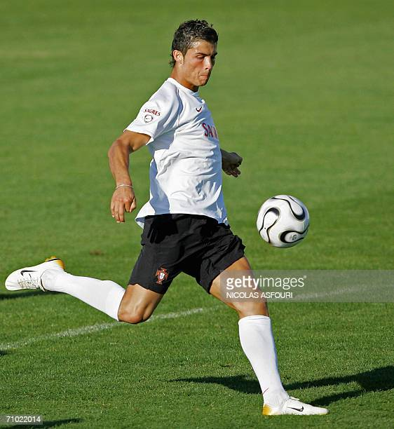 Portugal's Cistiano Ronaldo attends 23 May 2006 a training session in preparation for the World Cup 2006 in Evora 100 km southeast of Lisbon The...