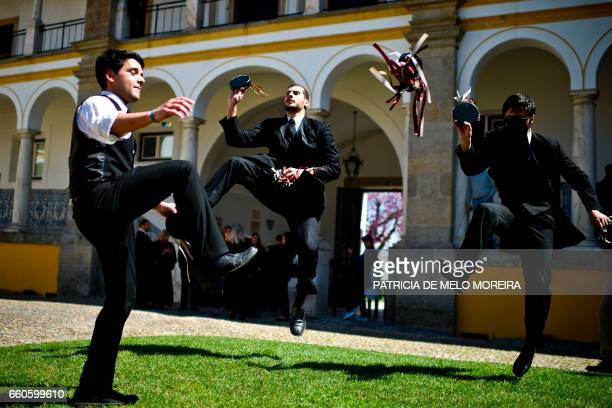 TOPSHOT Evora University's students rehearse their performance moments before Chilean President Michelle Bachelet receives her Honoris Causa degree...