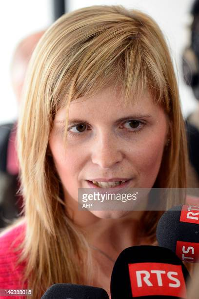 Evy Laermans the wife of one of the two bus drivers speaks to journalists during a press conference at the Justice court building in Brussels on June...