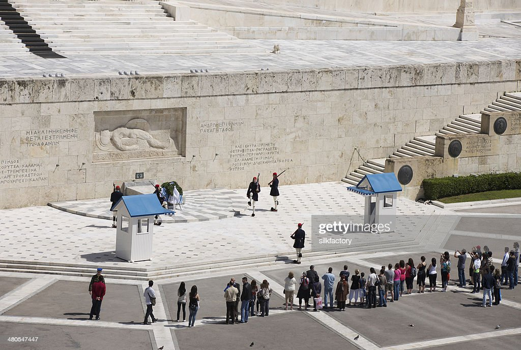Evzones changing guard at Tomb of Unknown Soldier in Athens : Stock Photo