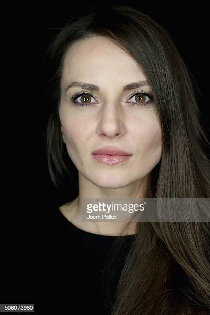 Ewa Herzog is seen backstage ahead of the Ewa Herzog show during the MercedesBenz Fashion Week Berlin Autumn/Winter 2016 at Brandenburg Gate on...