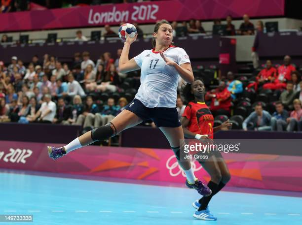 Ewa Palies of Great Britain goes up for a shot during the Women's Handball Preliminaries Group A match between Great Britain and Angola on Day 7 of...