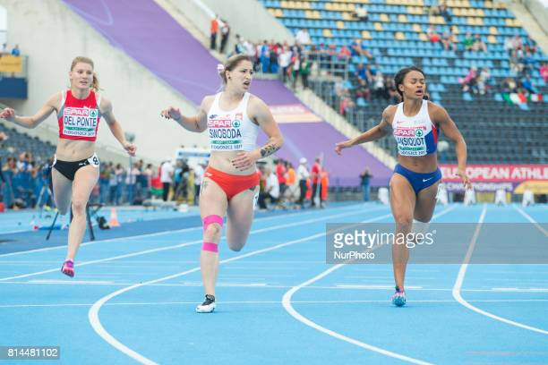 Ewa Swoboda is seen competing in the 100 meter womens final on 13 July 2017 in Bydgoszcz Poland