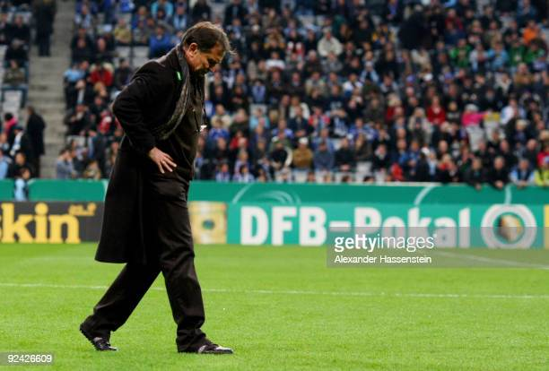 Ewald Lienen head coach of Muenchen looks on prior to the DFB Cup round of 16 match between 1860 Muenchen and FC Schalke 04 at Allianz Arena on...