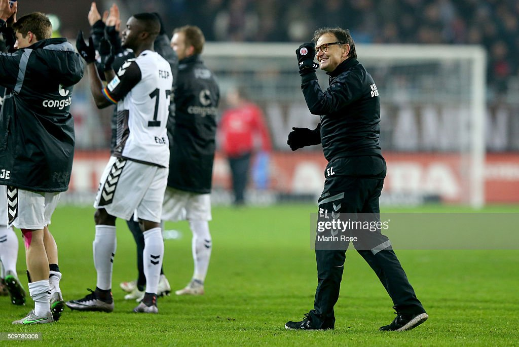 <a gi-track='captionPersonalityLinkClicked' href=/galleries/search?phrase=Ewald+Lienen&family=editorial&specificpeople=2161595 ng-click='$event.stopPropagation()'>Ewald Lienen</a>, head coach of St. Pauli celebrates after the second Bundesliga match between FC St. Pauli and RB Leipzig at Millerntor Stadium on February 12, 2016 in Hamburg, Germany.