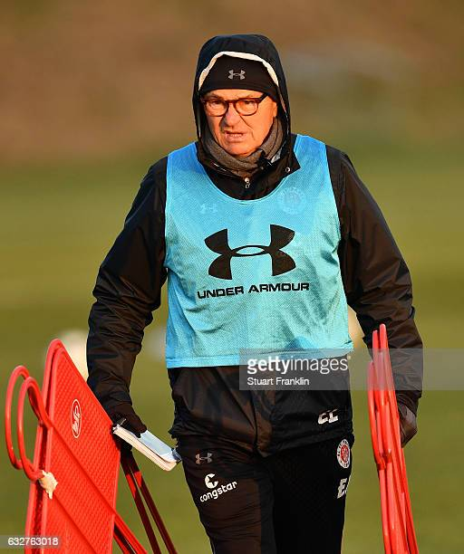 Ewald Lienen head coach of St Pauli looks on during a training session of FC St Pauli on January 26 2017 in Hamburg Germany