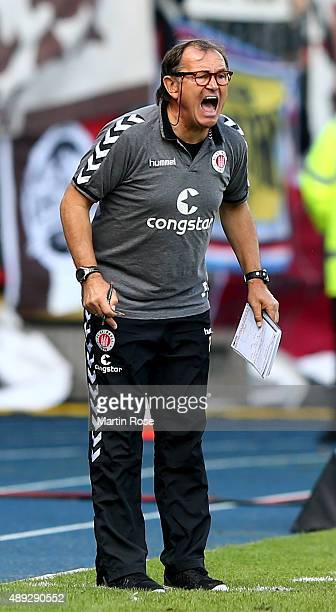 Ewald Lienen head coach of St Pauli looks on during the Second Bundesliga match between Eintracht Braunschweig and FC St Paul at Eintracht Stadion on...