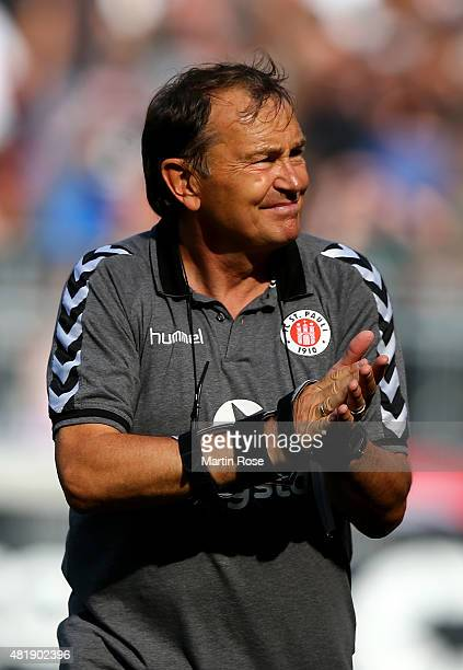 Ewald Lienen head coach of St Pauli reacts after the second Bundesliga match between FC St Pauli and Arminia Bielefeld at Millerntor Stadium on July...