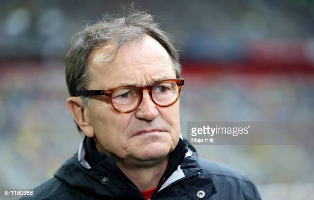Ewald Lienen head coach of StPauli looks on before the Second Bundesliga match between Fortuna Duesseldorf and FC St Pauli at EspritArena on April 21...