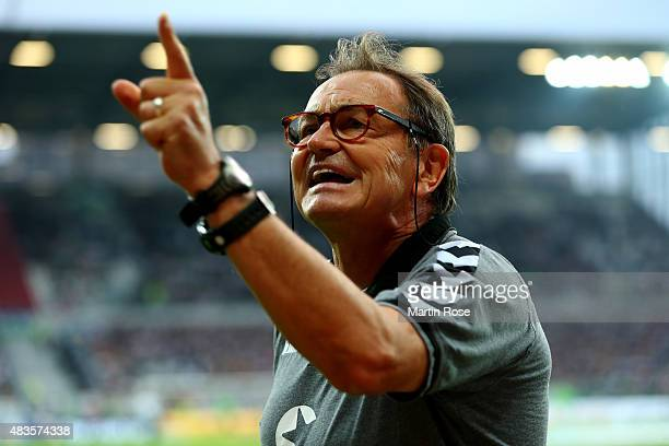 Ewald Lienen head coach of StPauli reacts before the DFB Cup First Round match between FC StPauli and Borussia Moenchengladbach at Millerntor Stadium...