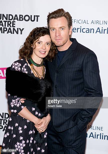 Ewan McGregor and Eve Mavrakis attend the opening night of 'The Real Thing' on Broadway at American Airlines Theatre on October 30 2014 in New York...