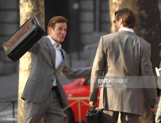 Ewan McGregor and Hugh Jackman during Ewan McGregor Michelle Williams and Hugh Jackman on the Set of 'The Tourist' January 11 2007 at Streets of...