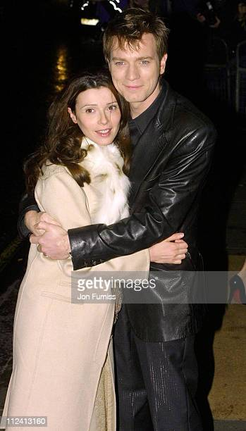 Ewan McGregor and wife Eve Mavrakis during 2002 Evening Standard Film Awards Arrivals at Savoy Hotel in London Great Britain