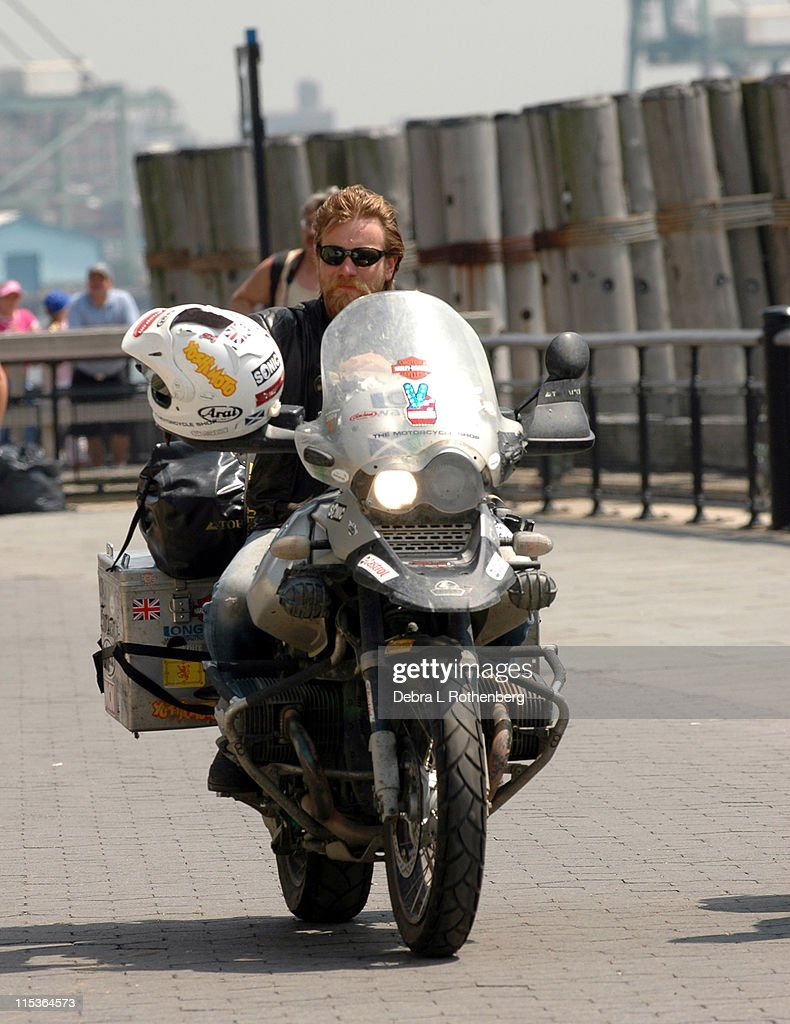 Ewan McGregor During And Charley Boorman Complete Their Epic 20000 Mile Motorbike Journey For